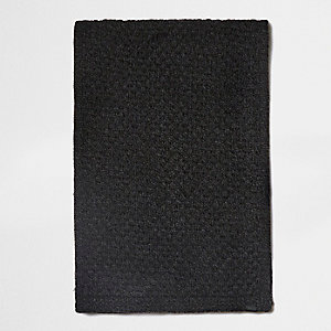 Dark grey textured knit scarf