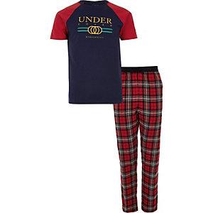 Navy 'undercover' tartan check pyjama set