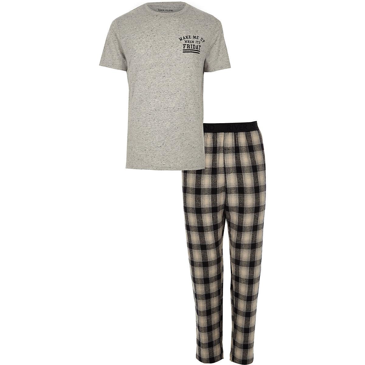 Grey 'wake me up' print check pyjama set