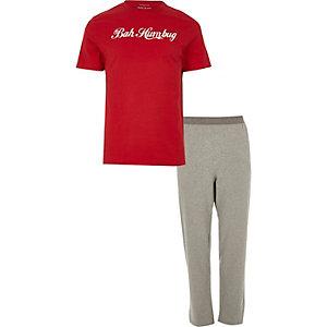 Red 'bah humbug' print pajama set
