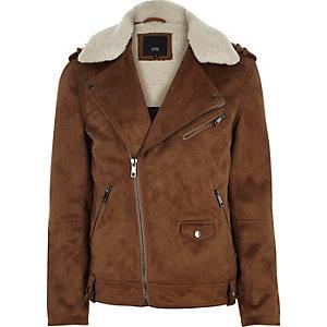 Tan faux suede borg biker jacket