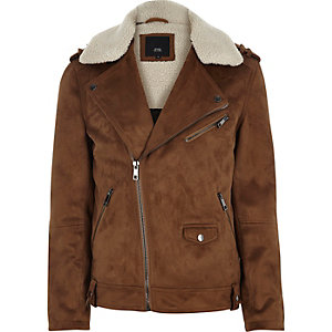 Tan faux suede fleece biker jacket
