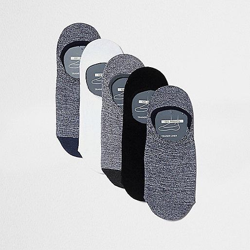 Grey sneaker liner socks multipack
