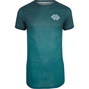 Blauwgroen aansluitend T-shirt met geoprint