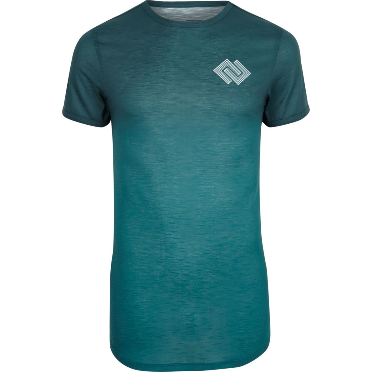 Teal geo print muscle fit T-shirt