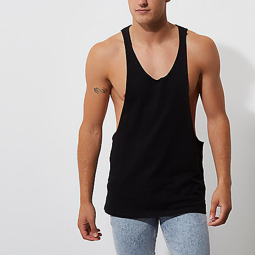 Black dropped armhole relaxed fit tank