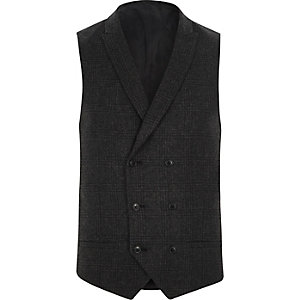 Dark grey heritage check suit waistcoat