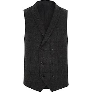 Gilet de costume à carreaux gris foncé classique