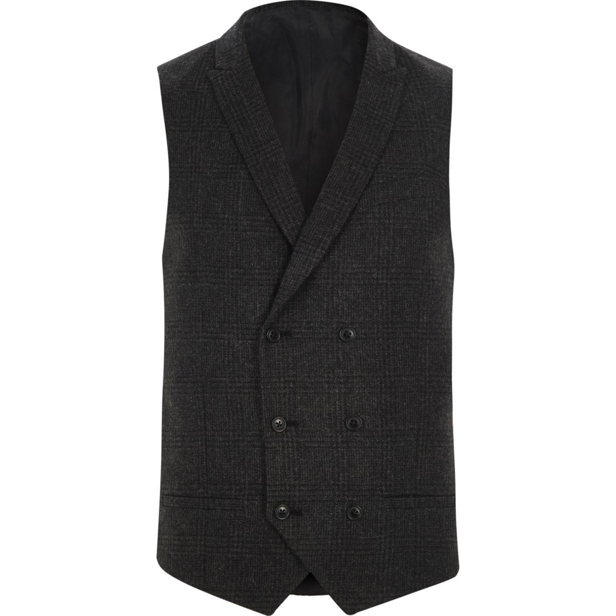 Dark grey heritage check suit vest