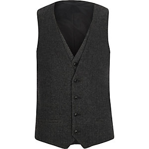 Charcoal grey herringbone vest