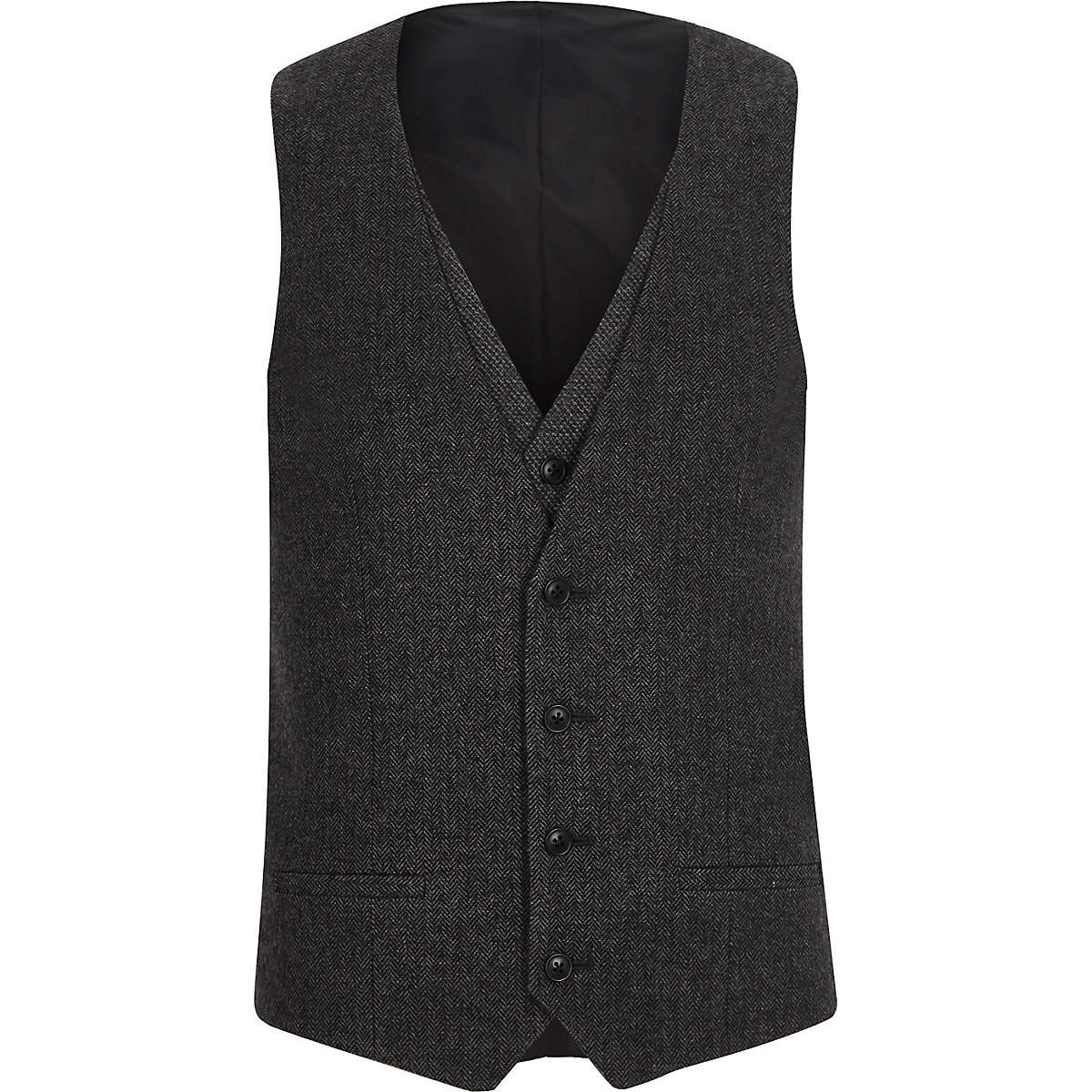 Charcoal grey herringbone vest