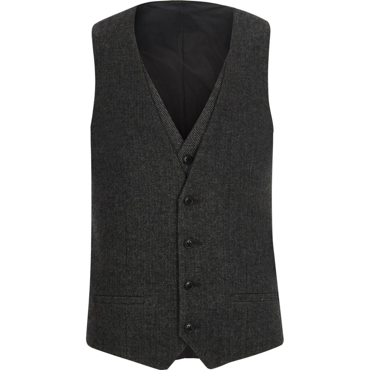 Charcoal grey herringbone waistcoat