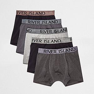 Black metallic waistband trunks multipack