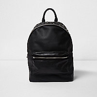 Black faux leather stud embellished backpack