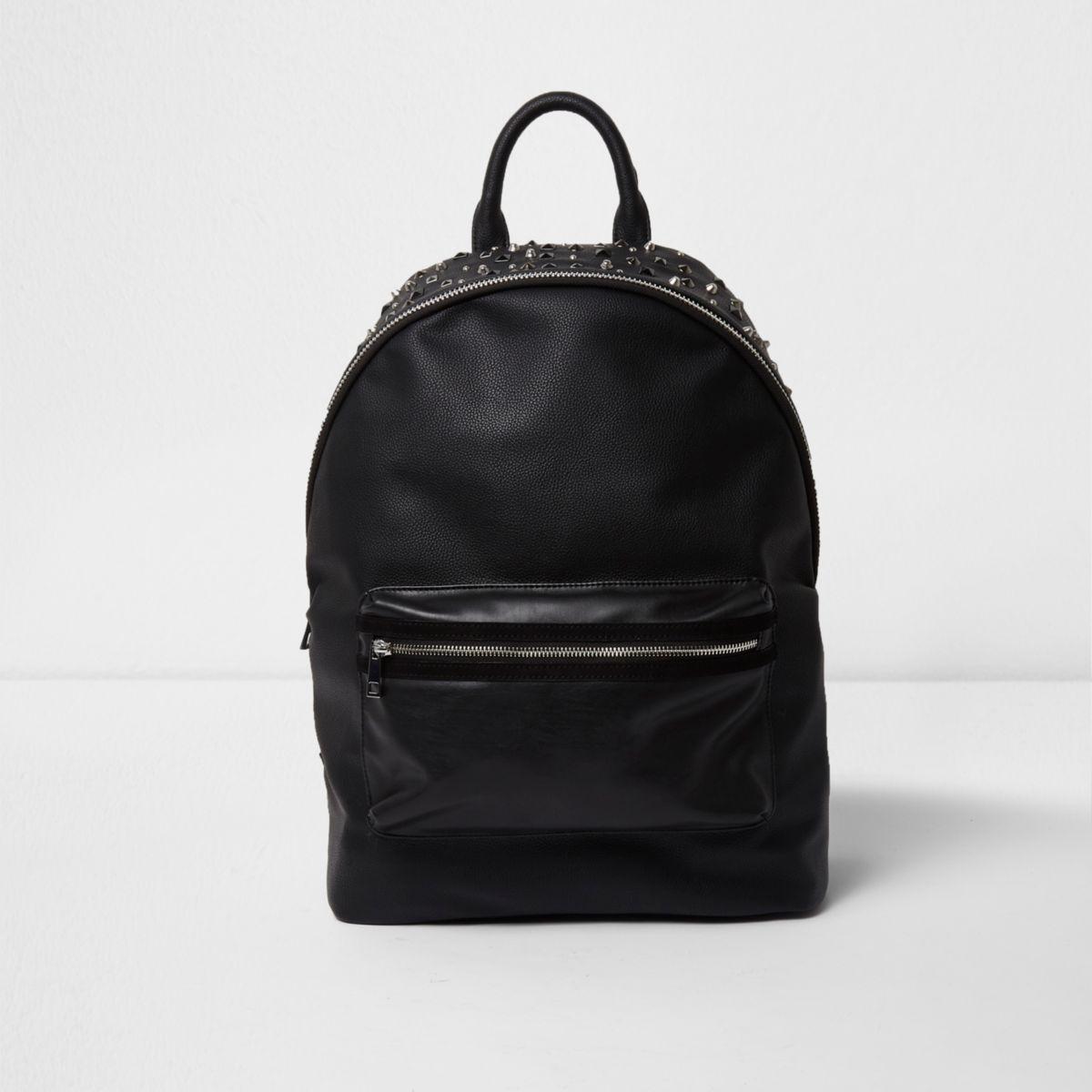 Black faux leather stud embellished backpack