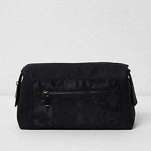 Black camo pocket washbag