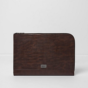 Brown snakeskin zip around laptop case