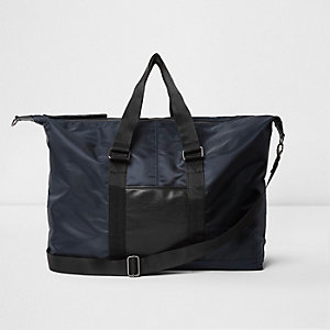 Navy nylon holdall bag