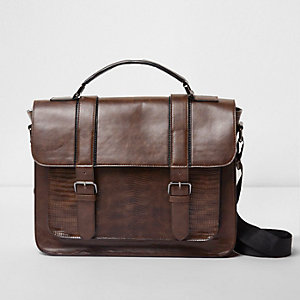 Brown snakeskin front buckle satchel bag