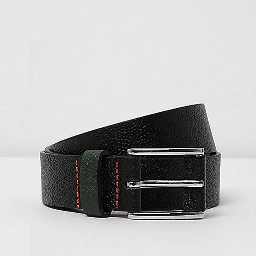 Black contrast keeper leather belt