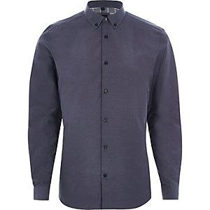 Donkerblauw slim-fit overhemd met kleine gingham-ruit