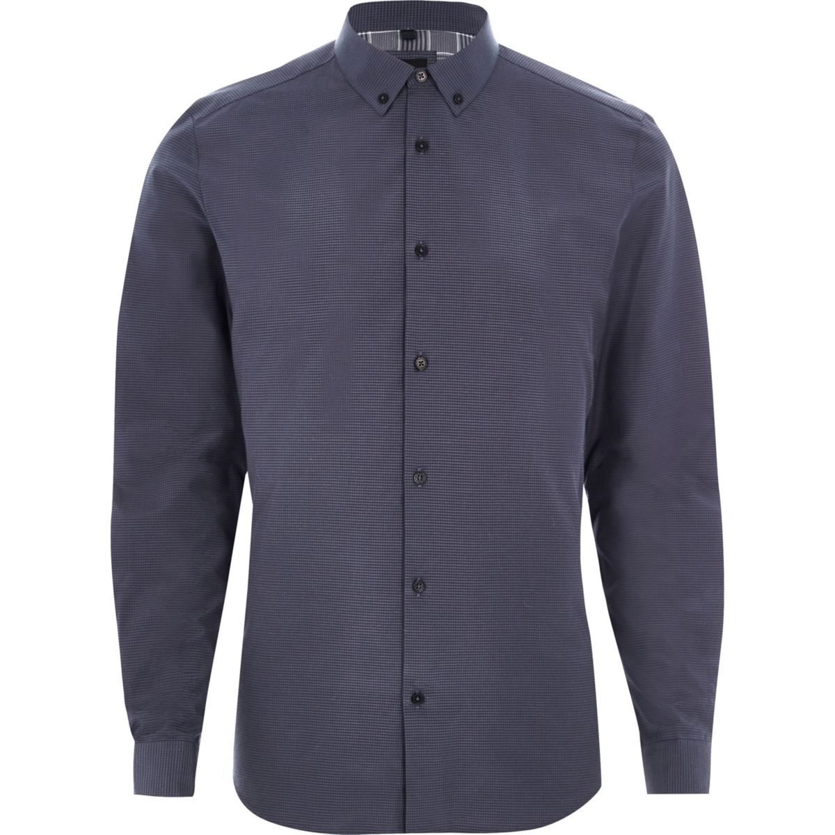 Dark blue micro gingham check slim fit shirt
