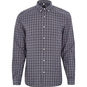 Blue contrast check slim fit shirt