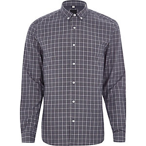 Blue contrast check slim fit shirt