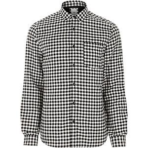 Schwarzes langärmeliges Gingham-Hemd