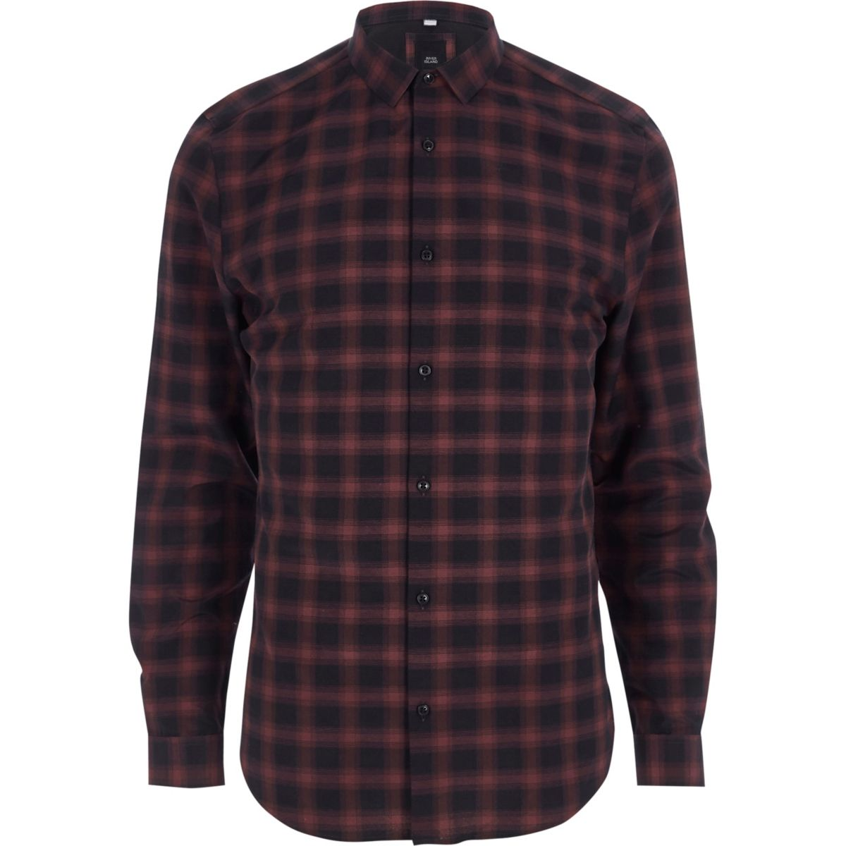 Red check slim fit shirt