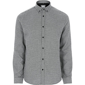 Black check slim fit button-down shirt