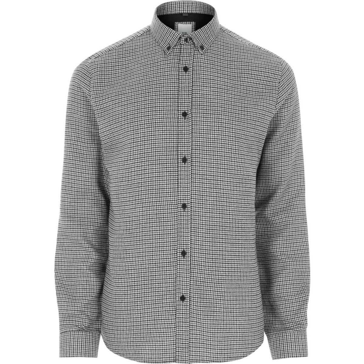 Black check slim fit button-down shirt