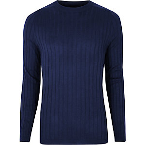 Navy rib knit muscle fit sweater