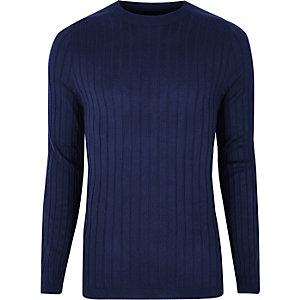 Marineblauwe gebreide aansluitende pullover met ribbels