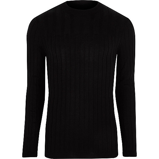 Black ribbed muscle fit long sleeve top
