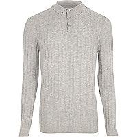 Grey ribbed cable knit long sleeve polo shirt