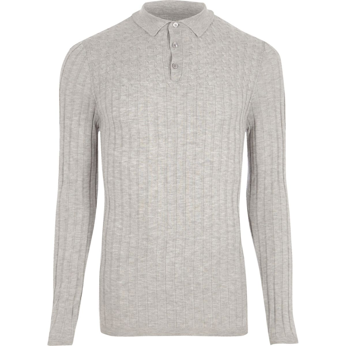 Grey ribbed cable knit long sleeve polo shirt