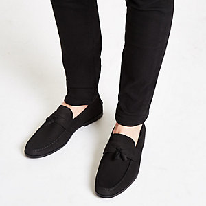 29bd247a15e Black nubuck tassel loafers
