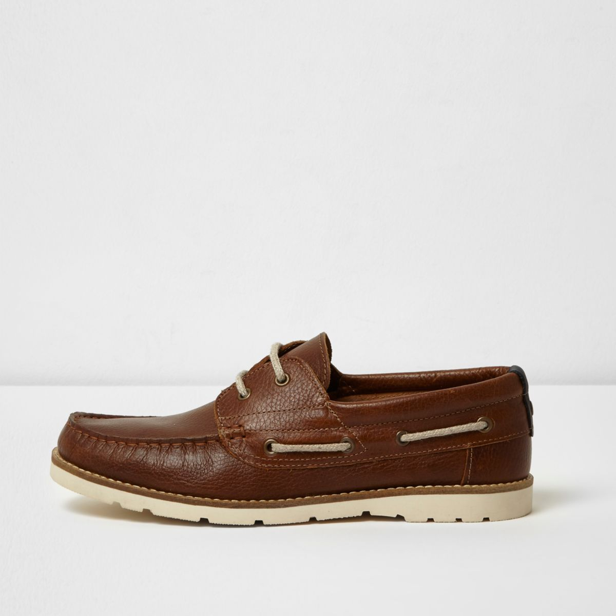 Tan brown rubber sole leather boat shoes