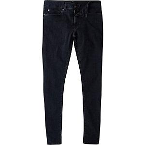 Ollie – Jean super skinny bleu foncé délavé irrégulièrement