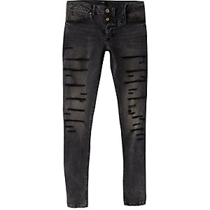 Ollie – Schwarze Superskinny Jeans im Used-Look
