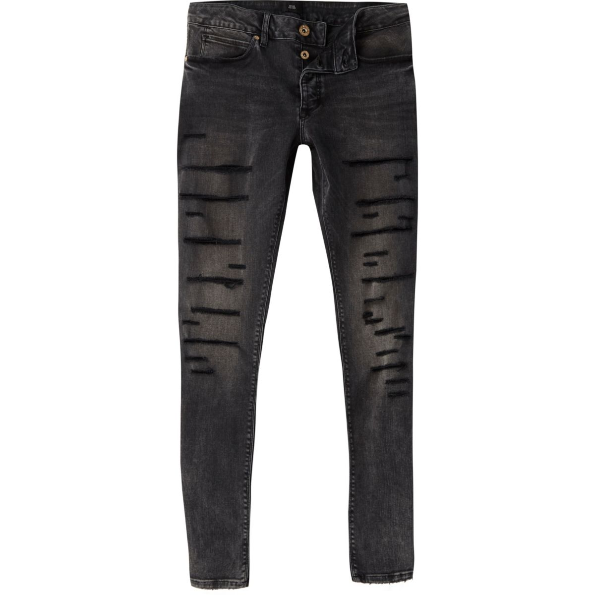 Ollie – Schwarze Superskinny Jeans im Used-Look