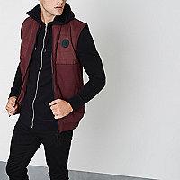 Burgundy block chest patch padded vest