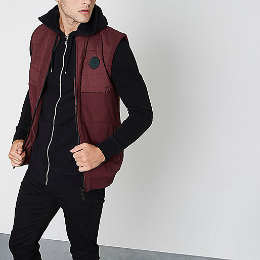 Burgundy block chest patch padded vest