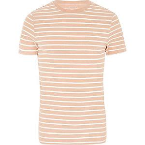 Pinkes, gestreiftes Muscle Fit T-Shirt mit Rundhalsausschnitt