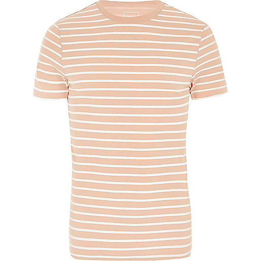 Pink stripe crew neck muscle fit T-shirt
