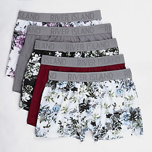 Grey floral print trunks multipack