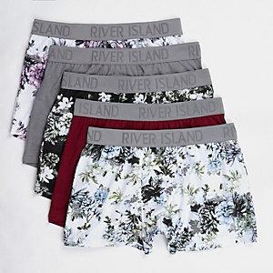 Multipack met grijze strakke boxers met bloemenprint