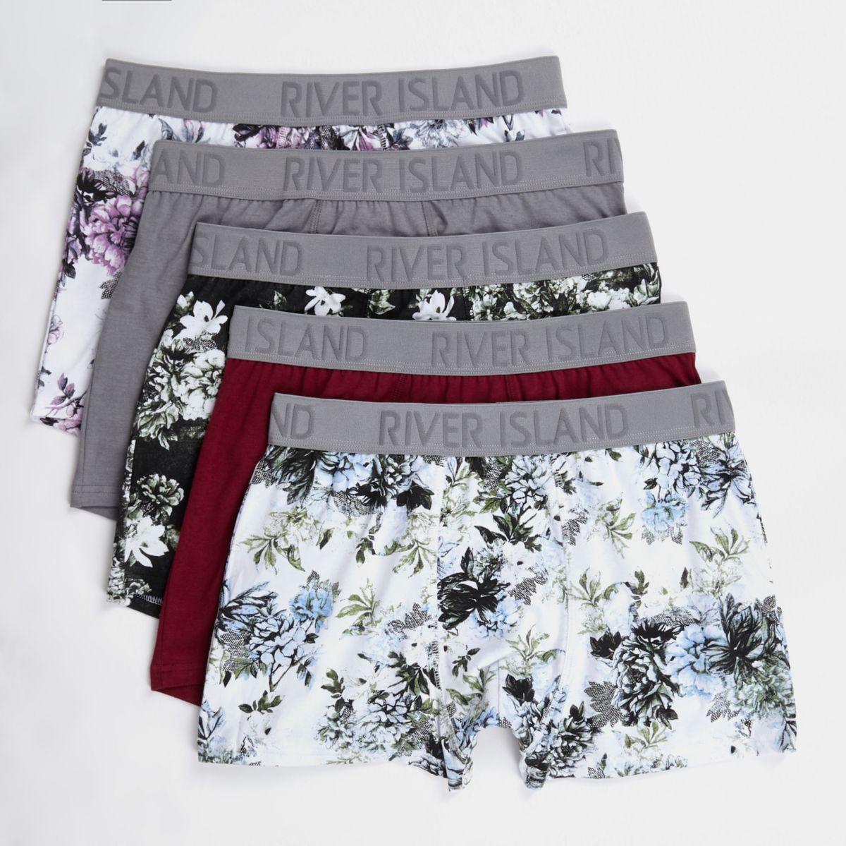 Grey floral print trunks multipack