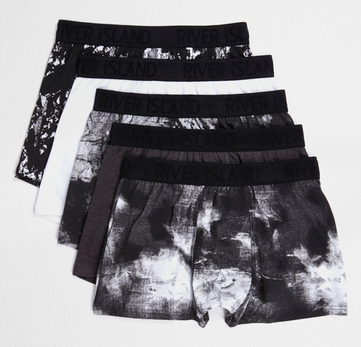Black mono print trunks multipack